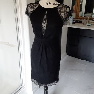 Catherine Maladrino black cocktail lace dress